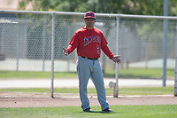 Los Angeles Angels coach Jack Santora (20) during a Minor League Spring Training game against the Chicago Cubs at Sloan Park on March 20, 2018 in Mesa, Arizona. (Zachary Lucy/Four Seam Images)