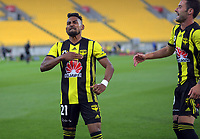 Roy Krishna celebrates his second penalty during the A-League football match between Wellington Phoenix and Central Coast Mariners at Westpac Stadium in Wellington, New Zealand on Saturday, 12 January 2019. Photo: Dave Lintott / lintottphoto.co.nz