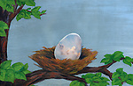 Illustrative image of egg in nest representing investment