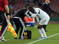 Thursday 27 February 2014<br /> Pictured: Nathan Dyer of Swansea (R) is held by team physio Richie Buchanan (L) after suffering a minor injury<br /> Re: UEFA Europa League, SSC Napoli v Swansea City FC at Stadio San Paolo, Naples, Italy.