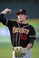 April 14, 2010: Ben Paulsen of the Modesto Nuts before game against the Rancho Cucamonga Quakes at The Epicenter in Rancho Cucamonga,CA.  Photo by Larry Goren/Four Seam Images