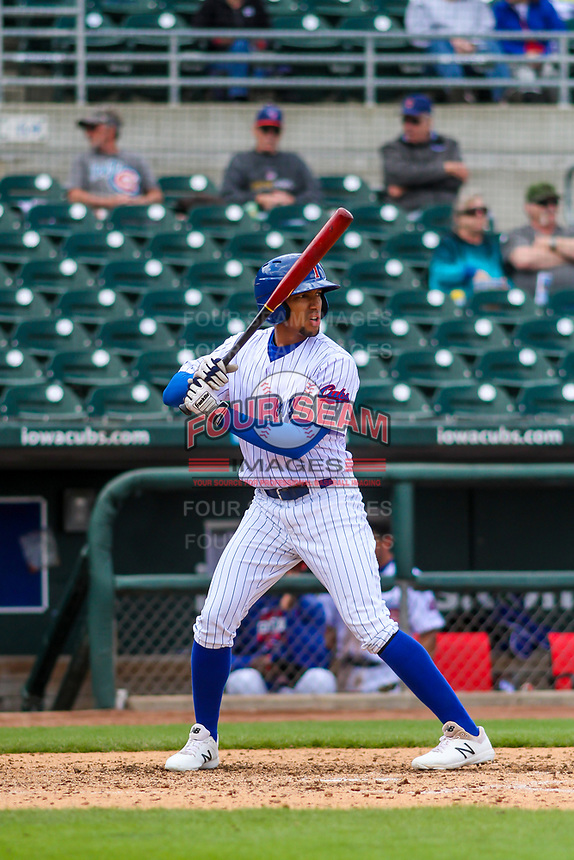 Iowa Cubs shortstop Dixon Machado (12) at bat during a Pacific Coast League game against the San Antonio Missions on May 2, 2019 at Principal Park in Des Moines, Iowa. Iowa defeated San Antonio 8-6. (Brad Krause/Four Seam Images)