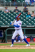 Iowa Cubs shortstop Dixon Machado (12) at bat during a Pacific Coast League game against the San Antonio Missions on May 2, 2019 at Principal Park in Des Moines, Iowa. Iowa defeated San Antonio 8-6. (Brad Krause/Four Seam Images)