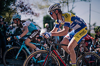 Benjamin Declercq (BEL/Sport Vlaanderen-Baloise) up the Mur de Huy<br /> <br /> 82nd Fl&egrave;che Wallonne 2018 (1.UWT)<br /> 1 Day Race: Seraing - Huy (198km)