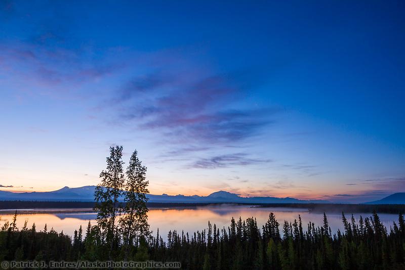 Sunrise over mount wrangell and mount Blackburn, Wrangell Mountains, Wrangell St. Elias National Park, Alaska.