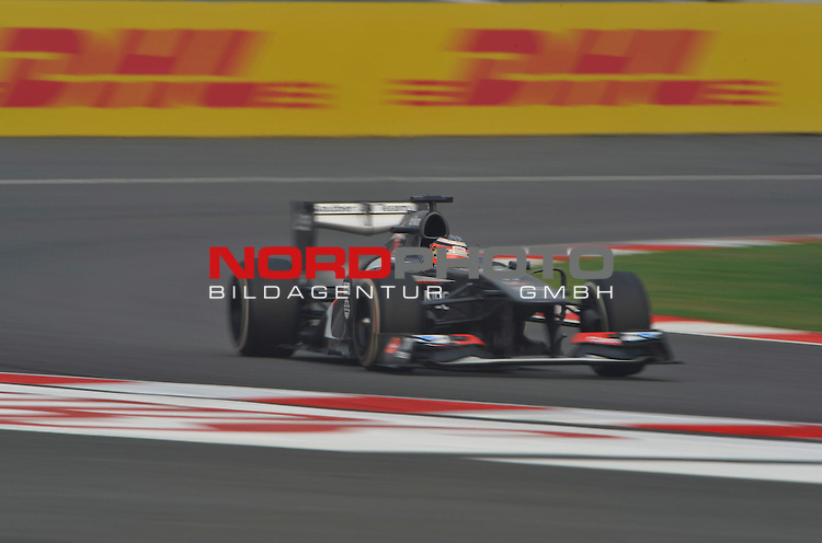 25.-27-10-2013, Jaypee-Circuit, Noida, IND, F1, Grosser Preis von Indien, Noida, im Bild DHL Branding - Nico Huelkenberg (GER), Sauber F1 Team <br />  Foto &copy; nph / Mathis