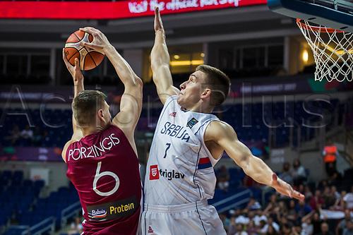 1st September 2017, Fenerbahce Arena, Istanbul, Turkey; FIBA Eurobasket Group D; Serbia versus Latvia; Shooting Guard Bogdan Bogdanovic #7 of Serbia blocks Power Forward Kristaps Porzingis #6 of Latvia during the match