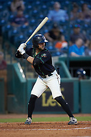 Jack Herman (22) Ocelotes de Greensboro at bat against the Hickory Crawdads at First National Bank Field on June 11, 2019 in Greensboro, North Carolina. The Crawdads defeated the Ocelotes 2-1. (Brian Westerholt/Four Seam Images)