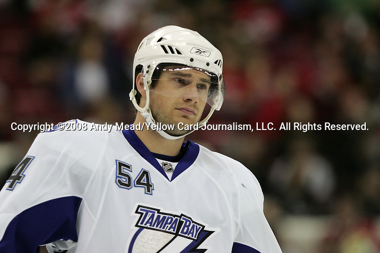 01 March 2008: Tampa Bay's Paul Ranger. The Carolina Hurricanes defeated the Tampa Bay Lightning 5-1 at the RBC Center in Raleigh, NC in a 2007-08 National Hockey League regular season game.