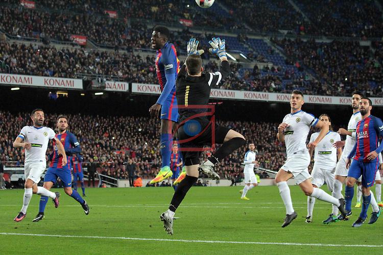 Copa del Rey 2016/2017. 1/16 Final-Vuelta.<br /> FC Barcelona vs Hercules CF: 7-0.<br /> Samuel Umtiti vs Ivan Buigues.