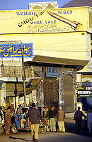 © Piers Benatar/Panos Pictures..North West Frontier Province, Pakistan. 2001...Pakistan is very proud of its status as the only Muslim nuclear power, a pride which manifests itself in sculptures, murals and merchandising paraphernalia depicting its Ghauri and Shaheen missiles. Here, a wholesale store in Mingora in the Swat Valley is decorated with nuclear iconography.