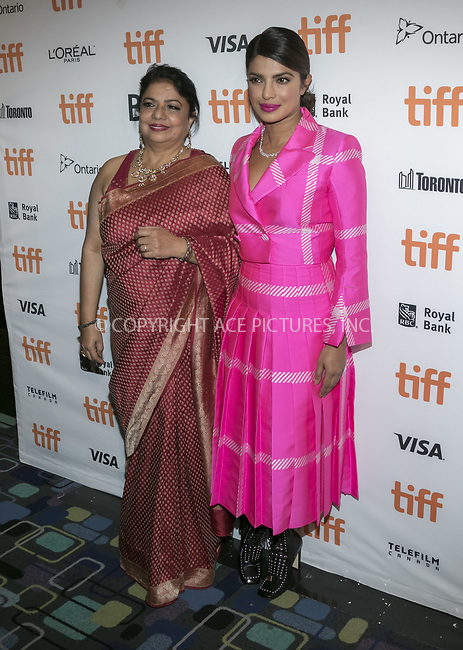 www.acepixs.com<br /> <br /> September 7 2017, Toronto<br /> <br /> Priyanka Chopra attends the premiere of 'Pahuna: The Little Visitors' during the 42nd Toronto International Film Festival at the Scotiabank Theatre in Toronto, Canada<br /> <br /> By Line: Famous/ACE Pictures<br /> <br /> <br /> ACE Pictures Inc<br /> Tel: 6467670430<br /> Email: info@acepixs.com<br /> www.acepixs.com