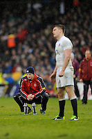 Owen Farrell of England kicked four penalties under the watchful eye of Mike Catt, England Attacking Skills Coach to score his side's only points during the RBS 6 Nations match between Ireland and England at the Aviva Stadium, Dublin on Sunday 10 February 2013 (Photo by Rob Munro)