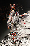 A model walks on the runway during the Jotaro Saito kimono 2016 Autumn Winter fashion show at the Mercedes-Benz Fashion Week Tokyo 2016 A/W on  March 16, 2016, Tokyo, Japan. (Photo by Michael Steinebach/AFLO)
