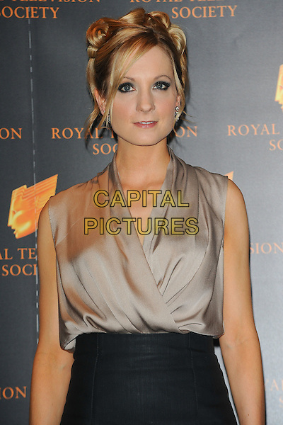 JOANNE FROGGATT.The Royal Television Society (RTS) Awards, Grosvenor House Hotel, Park Lane, London, England, UK,.March 15th 2011..half length grey gray sleeveless top silk dress wrap beige black silver .CAP/CJ.©Chris Joseph/Capital Pictures.