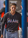 9 March 2013: Miami Marlins outfielder Christian Yelich walks the dugout during a Spring Training game against the Washington Nationals at Space Coast Stadium in Viera, Florida. The Nationals edged out the Marlins 8-7 in Grapefruit League play. Mandatory Credit: Ed Wolfstein Photo *** RAW (NEF) Image File Available ***