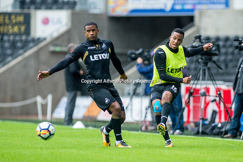( L-R) Luciano Narsigh and Matrin Olsson in action during the Swansea City Training Session at The Liberty Stadium, Swansea, Wales, UK. 02 August 2017