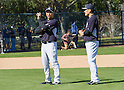 Hiroki Kuroda, Masahiro Tanaka (Yankees),<br /> FEBRUARY 16, 2014 - MLB : Pitcher Hiroki Kuroda (L) and Masahiro Tanaka of the New York Yankees during team's spring training baseball camp at George M. Steinbrenner Field in Tampa, Florida, United States.<br /> (Photo by Thomas Anderson/AFLO) (JAPANESE NEWSPAPER OUT)