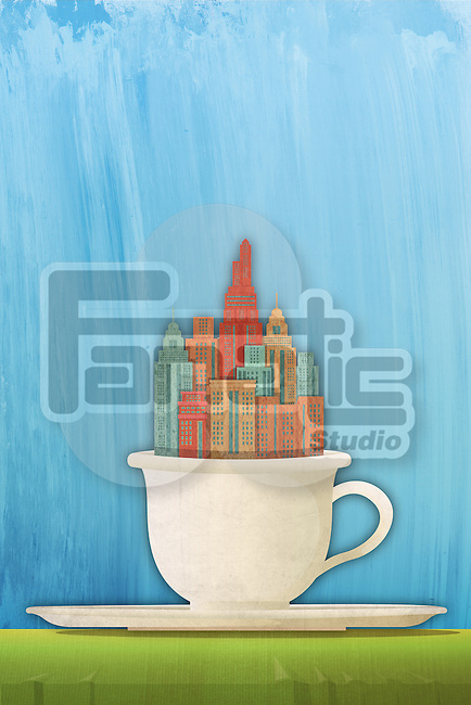 Illustrative image of buildings in coffee cup representing city news during morning cup of coffee