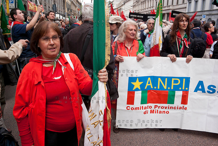 Milano, manifestazione del 25 aprile, anniversario della Liberazione dell'Italia dal nazifascismo --- Milan, manifestation of April 25, the anniversary of the Liberation of Italy from nazi-fascism