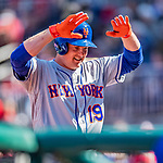 5 April 2018: New York Mets outfielder Jay Bruce is all smiles as he returns to the dugout after hitting a grand slam in the 7th inning against the Washington Nationals during the Nationals' Home Opener at Nationals Park in Washington, DC. The Mets defeated the Nationals 8-2 in the first game of their 3-game series. Mandatory Credit: Ed Wolfstein Photo *** RAW (NEF) Image File Available ***