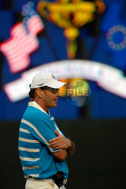 European Team Captain Nick Faldo watches as his players Soren Hansen and Lee Westwood play on the 16th green during the Afternoon Fourball on Day 2 of the Ryder Cup at Valhalla Golf Club, Louisville, Kentucky, USA, 20th September 2008 (Photo by Eoin Clarke/GOLFFILE)