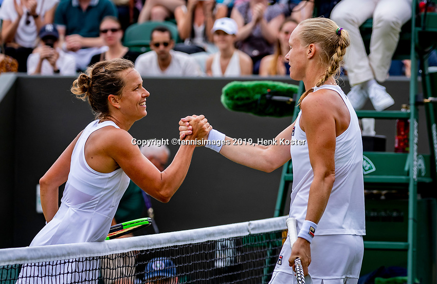 London, England, 6 July, 2019, Tennis,  Wimbledon, Womans single: Kiki Bertens (NED) congratulates Barbora Strycova (CZE) (L) with her win<br /> Photo: Henk Koster/tennisimages.com