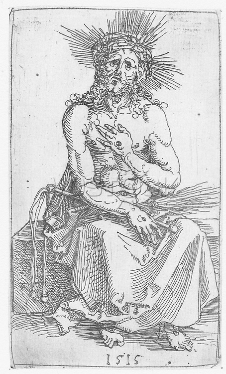 Christ as Man of Sorrows, sitting, Albrecht Dürer, 1515