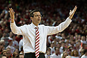 March 1, 2014: head coach Tim Miles of the Nebraska Cornhuskers reacts to the referees not making a call during the first half against the Northwestern Wildcats at the Pinnacle Bank Arena, Lincoln, NE. Nebraska 54 Northwestern 47.