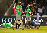 3rd January 2020; AJ Bell Stadium, Salford, Lancashire, England; English Premiership Rugby, Sale Sharks versus Harlequins; Sam James  of Sale Sharks scores their second try to make it 15-7  - Editorial Use