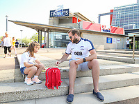 Preston North End fans play a game outside Deepdale<br /> <br /> Photographer Alex Dodd/CameraSport<br /> <br /> The EFL Sky Bet Championship - Preston North End v Burton Albion - Sunday 6th May 2018 - Deepdale Stadium - Preston<br /> <br /> World Copyright &copy; 2018 CameraSport. All rights reserved. 43 Linden Ave. Countesthorpe. Leicester. England. LE8 5PG - Tel: +44 (0) 116 277 4147 - admin@camerasport.com - www.camerasport.com