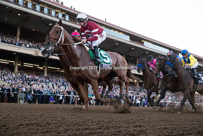 DEL MAR, CA - NOVEMBER 04: Gun Runner #5, ridden by Florent Geroux, takes the lead on the first stretch during the Breeders' Cup Classic on Day 2 of the 2017 Breeders' Cup World Championships at Del Mar Thoroughbred Club on November 4, 2017 in Del Mar, California. (Photo by Alex Evers/Eclipse Sportswire/Breeders Cup)