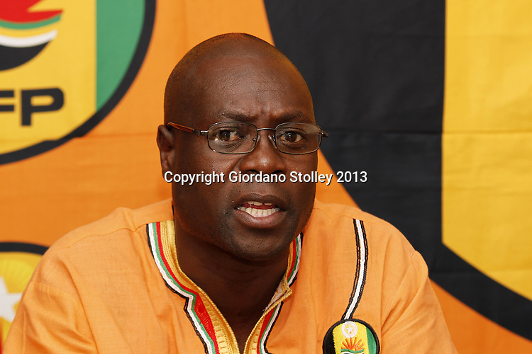 DURBAN - 23 July 2013 - Vikizitha Richard Mlotshwa, the KwaZulu-Natal chairman of the National Freedom Party speeks at a press conference where it was announced that the party would contest every province in the upcoming 2014 national election. Picture: Giordano Stolley