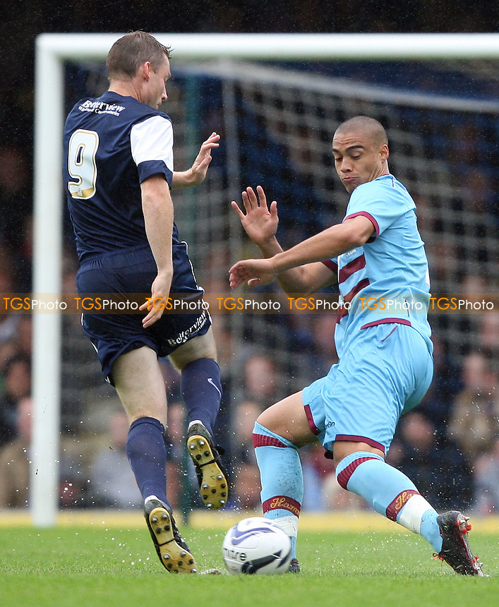 Neil Harris of Southend and Winston Reid of West Ham - Southend United vs West Ham United, Pre-season Friendly at Roots Hall, Southend - 14/07/12 - MANDATORY CREDIT: Rob Newell/TGSPHOTO - Self billing applies where appropriate - 0845 094 6026 - contact@tgsphoto.co.uk - NO UNPAID USE..