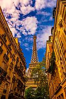 Eiffel Tower seen from Rue de l'Universite, Paris, France.