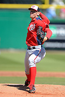 Washington Nationals pitcher Stephen Strasburg #37 delivers a pitch during a Spring Training game against the Philadelphia Phillies at Bright House Field on March 6, 2013 in Clearwater, Florida.  Philadelphia defeated Washington 6-3.  (Mike Janes/Four Seam Images)