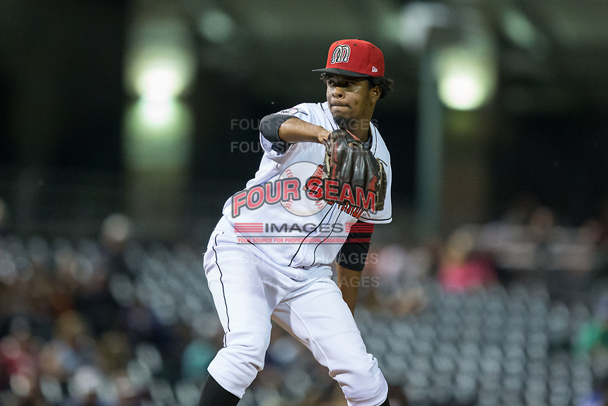 Billings Mustangs relief pitcher Gregory Reinoso (13) in action against the Missoula Osprey at Dehler Park on August 21, 2017 in Billings, Montana.  The Osprey defeated the Mustangs 10-4.  (Brian Westerholt/Four Seam Images)