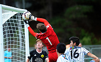 Zac Jones makes a save during the ISPS Handa Premiership football match between Wellington Phoenix Reserves and Hawkes Bay United at Porirua Park in Wellington, New Zealand on Sunday, 17 March 2019. Photo: Dave Lintott / lintottphoto.co.nz