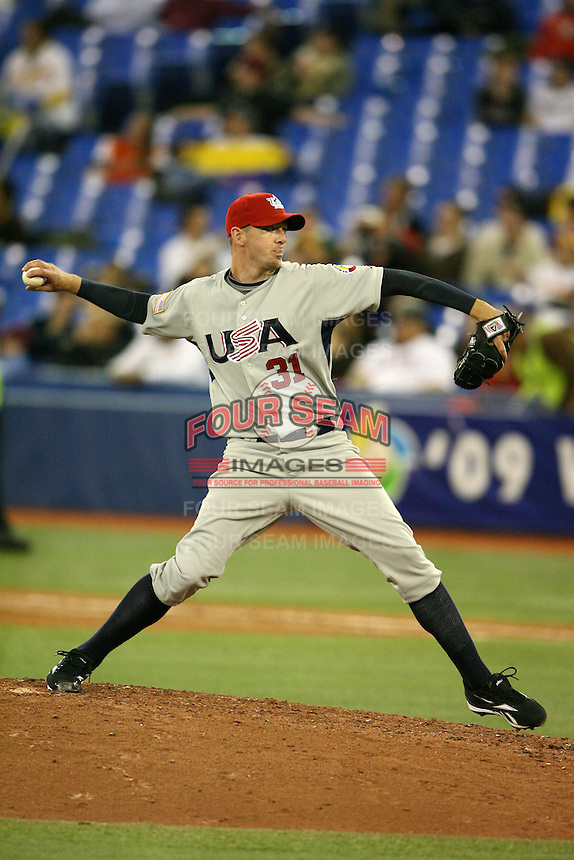March 8, 2009:  Pitcher Brad Ziegler (31) of Team USA during the first round of the World Baseball Classic at the Rogers Centre in Toronto, Ontario, Canada.  Team USA defeated Venezuela  15-6 to secure a spot in the second round of the tournament.  Photo by:  Mike Janes/Four Seam Images