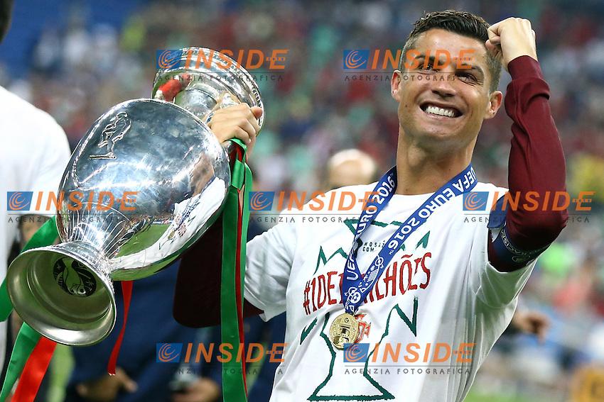 Cristiano Ronaldo (Portugal) celebration with the trophy. esultanza vittoria trofeo<br /> Paris 10-07-2016 Stade de France Football Euro2016 Portugal - France / Portogallo - Francia Final / Finale <br /> Foto Matteo Ciambelli / Insidefoto