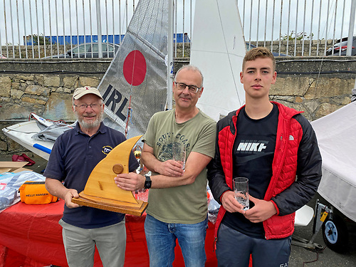 Classic Fireball Winners Colm Breen (left) & Cormac Power Breen with DMYC Commodore Frank Guilfoyle