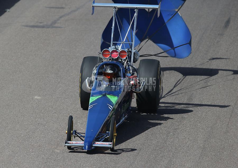Feb. 24, 2013; Chandler, AZ, USA; NHRA top dragster driver Denny Hills during the Arizona Nationals at Firebird International Raceway. Mandatory Credit: Mark J. Rebilas-