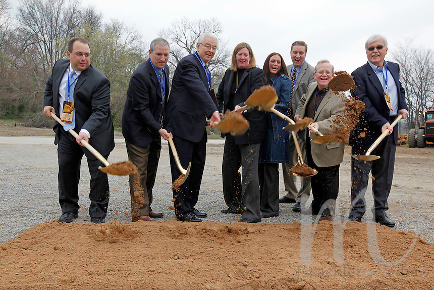 From left, city council members Mark Lanzotti and John Voss, Mayor Harry Rediger, Isle president and chief operating officer Virginia McDowell, city council member Meg Davis Proffer, city manager Scott Meyer, Isle vice president and chief development officer Paul Keller and Isle vice president of design and construction Dick Meister during the Isle of Capri Cape Girardeau's groundbreaking ceremony held at the corner of North Main and Mill Streets on Thursday, March 31, 2011 in Cape Girardeau, MO. The ceremony marked the official start of construction on its $125 million Cape Girardeau casino complex.
