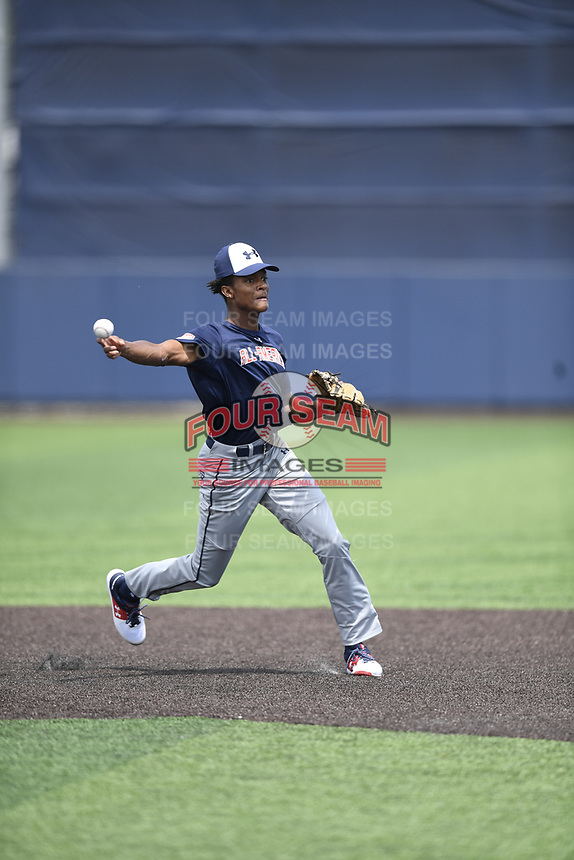 TEMPORARY UNEDITED FILE:  Image may appear lighter/darker than final edit - all images cropped to best fit print size.  <br /> <br /> Under Armour All-American Game presented by Baseball Factory on July 19, 2018 at Les Miller Field at Curtis Granderson Stadium in Chicago, Illinois.  (Mike Janes/Four Seam Images) CJ Abrams is an infielder from Blessed Trinity High School in Alpharetta, Georgia committed to Alabama.