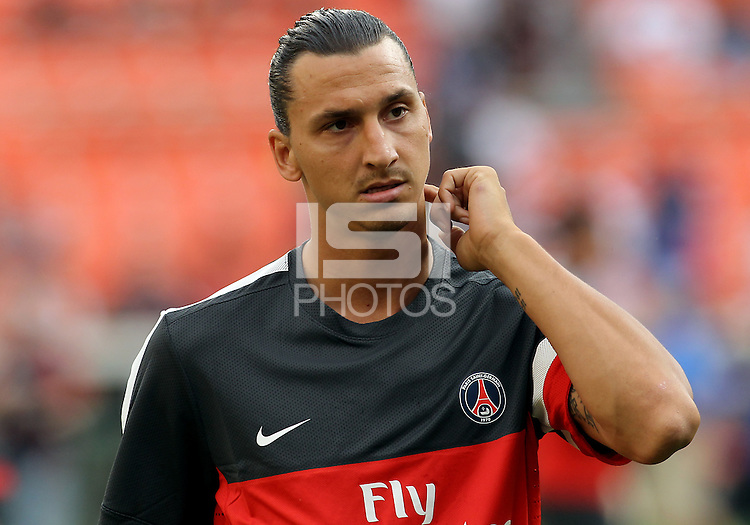 WASHINGTON, DC - July 28, 2012:  Zlatan Ibrahimovic (18) of PSG (Paris Saint-Germain) in an international friendly match against DC United at RFK Stadium in Washington DC on July 28. The game ended in a 1-1 tie.