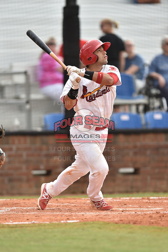 Johnson City Cardinals catcher Jose Godoy #25 swings at a pitch during a game against the Bristol Pirates at Howard Johnson Field July 20, 2014 in Johnson City, Tennessee. The Pirates defeated the Cardinals 4-3. (Tony Farlow/Four Seam Images)