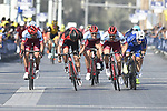 Race leader Elia Viviani (ITA) Quick-Step Floors and Marco Haller (AUT) Katusha Alpecin sprint for the finish line of Stage 5 The Meraas Stage final stage of the Dubai Tour 2018 the Dubai Tour&rsquo;s 5th edition, running 132km from Skydive Dubai to City Walk, Dubai, United Arab Emirates. 10th February 2018.<br /> Picture: LaPresse/Fabio Ferrari | Cyclefile<br /> <br /> <br /> All photos usage must carry mandatory copyright credit (&copy; Cyclefile | LaPresse/Fabio Ferrari)