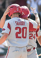 NWA Democrat-Gazette/CHARLIE KAIJO Arkansas infielder Carson Shaddy (20) and outfielder Dominic Fletcher (24) react after a score during the second game of the NCAA super regional baseball, Sunday, June 10, 2018 at Baum Stadium in Fayetteville. Arkansas fell to South Carolina 5-8.