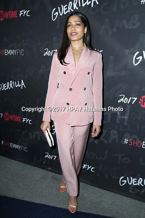 "LOS ANGELES - APR 13:  Freida Pinto at the ""Guerrilla"" FYC Event at the Writer's Guild of America Theater on April 13, 2017 in Beverly Hills, CA"