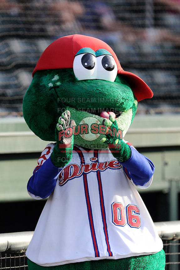Mascot Reedy Rip'It of the Greenville Drive before a game against the Lexington Legends on Wednesday, June 4, 2014, at Fluor Field at the West End in Greenville, South Carolina. Lexington won, 9-3. (Tom Priddy/Four Seam Images)